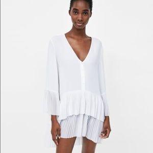 Zara White Pleated Dress/Shirt